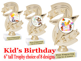 """Kids Birthday theme trophy with choice of art work. Great party favor!  6"""" tall  (h300"""