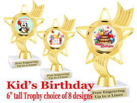 """Kids Birthday theme trophy with choice of art work. Great party favor!  6"""" tall  (ph27"""