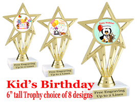 """Kids Birthday theme trophy with choice of art work. Great party favor!  6"""" tall  (ph30"""