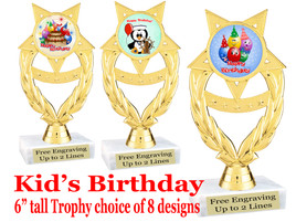 """Kids Birthday theme trophy with choice of art work. Great party favor!  6"""" tall  (ph97"""