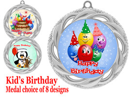 Kids Birthday  theme medal.  Choice of 8 designs.  Includes free engraving and neck ribbon.  (bday - 938s