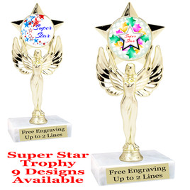 """Super Star theme trophy with choice of art work.   6"""" tall  (7517"""