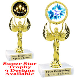 """Super Star theme trophy with choice of art work.   6"""" tall  (80087"""