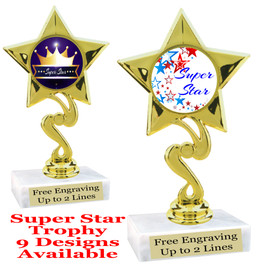 """Super Star theme trophy with choice of art work.   6"""" tall  (80106"""