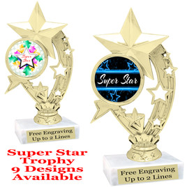 """Super Star theme trophy with choice of art work.   6"""" tall  (h208"""