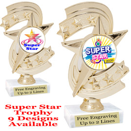 """Super Star theme trophy with choice of art work.   6"""" tall  (h300"""