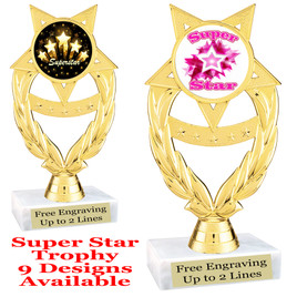 """Super Star theme trophy with choice of art work.   6"""" tall  ph97"""