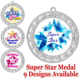 Super Star theme medal.  Choice of 9 designs.  Includes free engraving and neck ribbon.  ( 935s