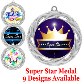 Super Star theme medal.  Choice of 9 designs.  Includes free engraving and neck ribbon.  ( 938s