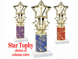 Star theme trophy with choice of trophy height and column color.  F764