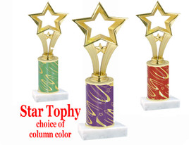 Star theme trophy with choice of trophy height and column color.  Open Star Figure