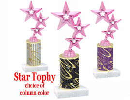 Star theme trophy with choice of trophy height and column color.  Pink Stars  Figure
