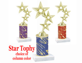 Star theme trophy with choice of trophy height and column color.  Gold Stars  Figure