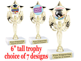 """Graduation theme  trophy with choice of art work.   6"""" tall  7517"""