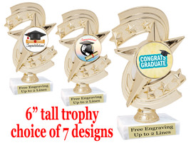 """Graduation theme  trophy with choice of art work.   6"""" tall  H300"""