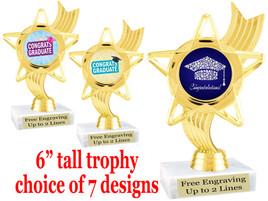 "Graduation theme  trophy with choice of art work.   6"" tall  ph27"
