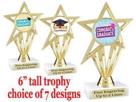 "Graduation theme  trophy with choice of art work.   6"" tall  ph30"