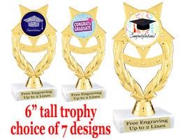 "Graduation theme  trophy with choice of art work.   6"" tall  ph97"