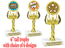 """Student Encouragement  theme  trophy with choice of art work.   6"""" tall  80087"""