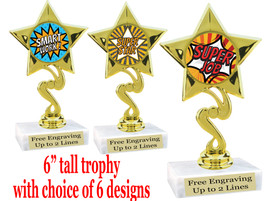 """Student Encouragement  theme  trophy with choice of art work.   6"""" tall  80106"""