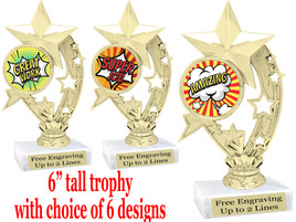 """Student Encouragement  theme  trophy with choice of art work.   6"""" tall  h208"""