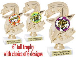 """Student Encouragement  theme  trophy with choice of art work.   6"""" tall  h300"""