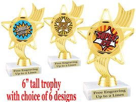 """Student Encouragement  theme  trophy with choice of art work.   6"""" tall  ph27"""