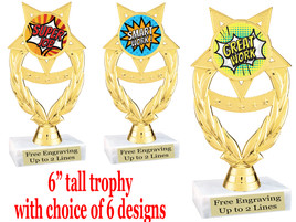 """Student Encouragement  theme  trophy with choice of art work.   6"""" tall  ph97"""