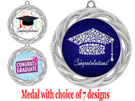 Graduation theme medal.  Choice of 7 designs.  Includes free engraving and neck ribbon.  ( 938s