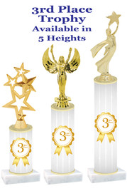 3rd Place  trophy with choice of trophy height and figure.  Great awards for all of your events!