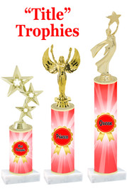 Title  trophy with choice of title, trophy height and figure.  Great awards for all of your events!  (red