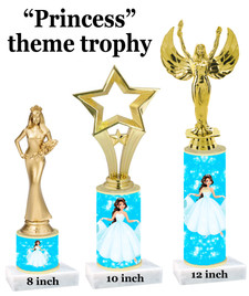 NEW!  Princess theme trophy.  Choice of 3 heights with numerous figures available.