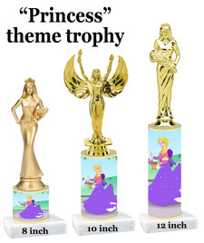 NEW!  Princess theme trophy.  Choice of 3 heights with numerous figures available.  (design 002