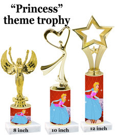 NEW!  Princess theme trophy.  Choice of 3 heights with numerous figures available.  (design 003