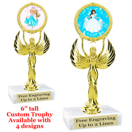 "Princess theme trophy with choice of 4 designs.  6"" tall.  Our exclusive designs!  (80087"