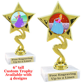 "Princess theme trophy with choice of 4 designs.  6"" tall.  Our exclusive designs!  (80106"