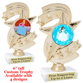 "Princess theme trophy with choice of 4 designs.  6"" tall.  Our exclusive designs!  (h300"