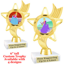 "Princess theme trophy with choice of 4 designs.  6"" tall.  Our exclusive designs!  (ph27"