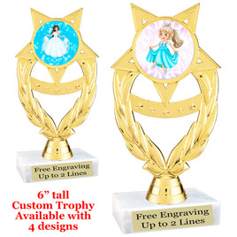 "Princess theme trophy with choice of 4 designs.  6"" tall.  Our exclusive designs!  (ph97"