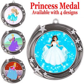 Princess theme medal with choice of 4 designs.  Our exclusive designs!  (930-s