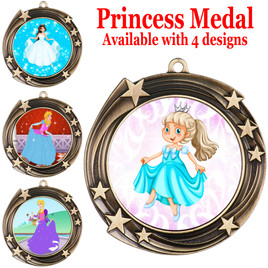 Princess theme medal with choice of 4 designs.  Our exclusive designs!  (930-g