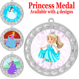 Princess theme medal with choice of 4 designs.  Our exclusive designs!  (935s