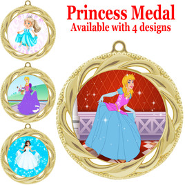 Princess theme medal with choice of 4 designs.  Our exclusive designs!  (938g