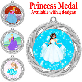 Princess theme medal with choice of 4 designs.  Our exclusive designs!  (938s