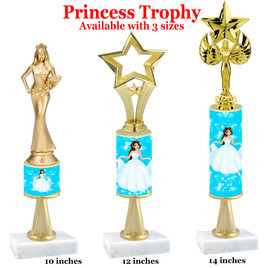 NEW!  Princess theme trophy.  Choice of 3 heights with numerous figures available. (stem 001