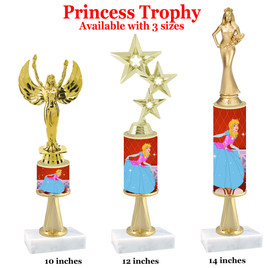 NEW!  Princess theme trophy.  Choice of 3 heights with numerous figures available. (stem 004