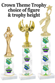 NEW!  Crown theme trophy.  Choice of numerous heights and figures available.  (design 001