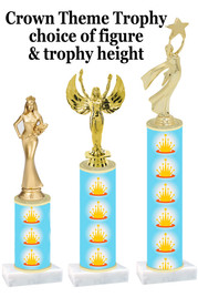 NEW!  Crown theme trophy.  Choice of numerous heights and figures available.  (design 005