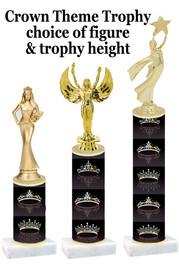 NEW!  Crown theme trophy.  Choice of numerous heights and figures available.  (design 006