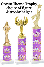 NEW!  Crown theme trophy.  Choice of numerous heights and figures available.  (design 007